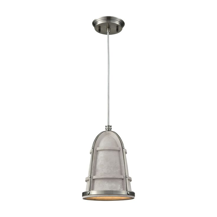 Urban Form 1 Light Concrete Pendant With Black Nickel Accents - Includes Recessed Lighting Kit