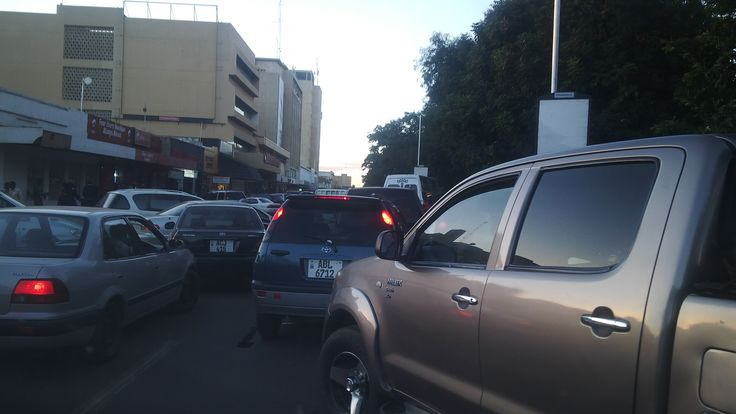 On Cairo road, Lusaka. Quite some congestion and a lot of patience needed.  [Road Safety is Key]