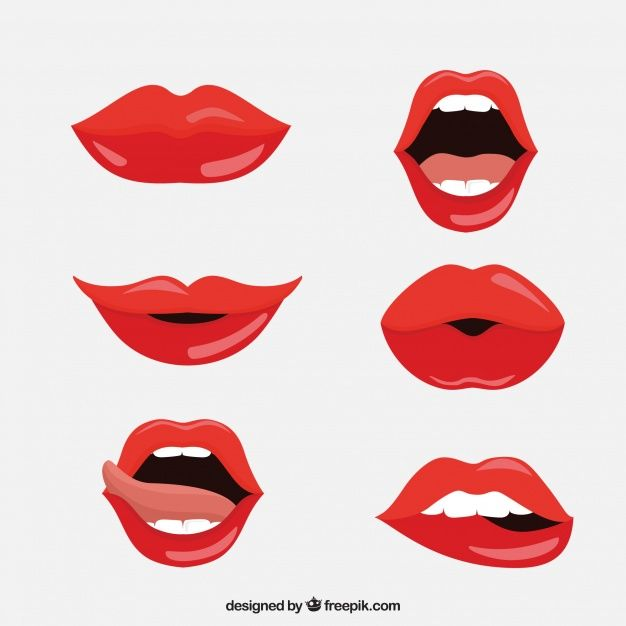 Red Lips Collection With Flat Design Free Vector In 2019 Red