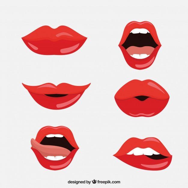 Coleccion De Labios Rojos Con Diseno Plano Vector Gratuito Lips