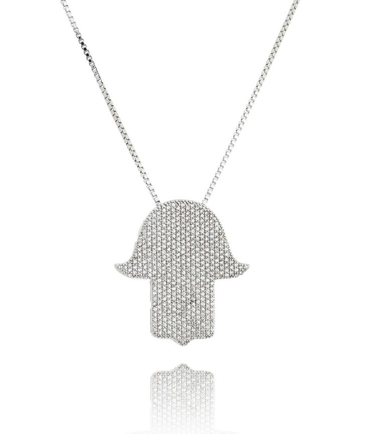 Colar judaico Hamsá cristal semi joias religiosas de luxo