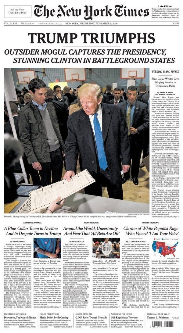 "One headline called America ""The Disunited States."""