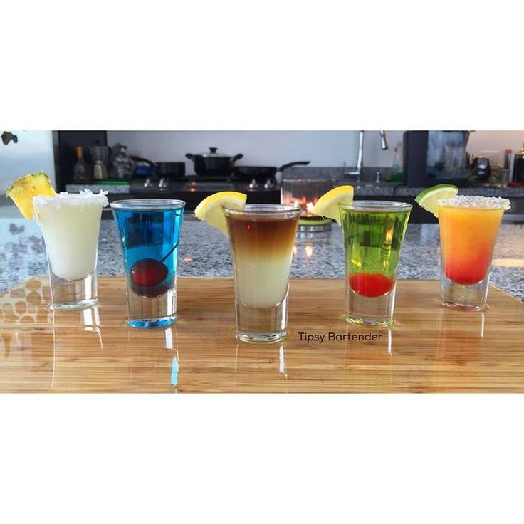 Five Cocktail Shots - For more delicious recipes and drinks, visit us here: www.tipsybartender.com