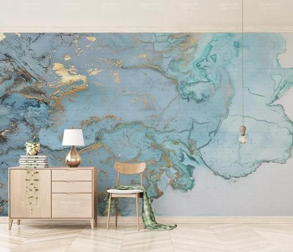 3d Abstract Blue Gold Ink Smudge Wallpaper Removable Self Adhesive Wallpaper Wall Mural Vintage Art Peel And Stick In 2021 Wallpaper Living Room Marble Effect Wallpaper Mural Wallpaper