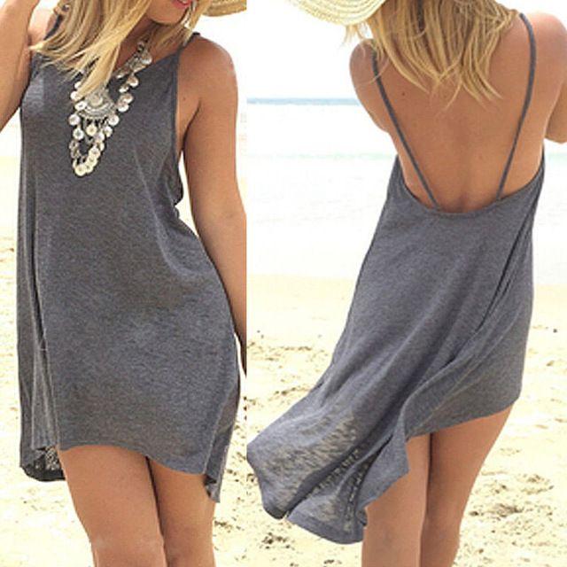 Vestidos de Mulheres Sexy Lady Roupas de Verão Mini Vestido Sem Mangas Casuais Solta Cinza Vestidos De Praia De Algodão Verão 2016 Roupa Das Mulheres