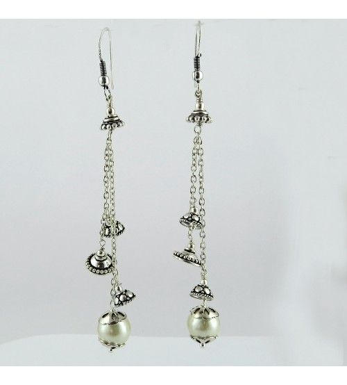 Fantastic Oxidized Pearl 925 Sterling Silver Earring, Weight: 10.8 g, Stone - Pearl, Size - 9.5 x 1.0 cm, Wholesale Orders Acceptable, All Pieces have 925 Stamp