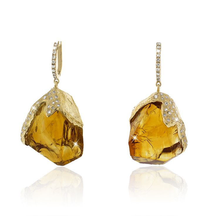 Earrings ' Rough Gem Rocks Madeira Citrine Diamonds' 76 Ctw Citrine, 0,85 Ctw White Diamonds, Latch back hook - 18K Yellow Gold