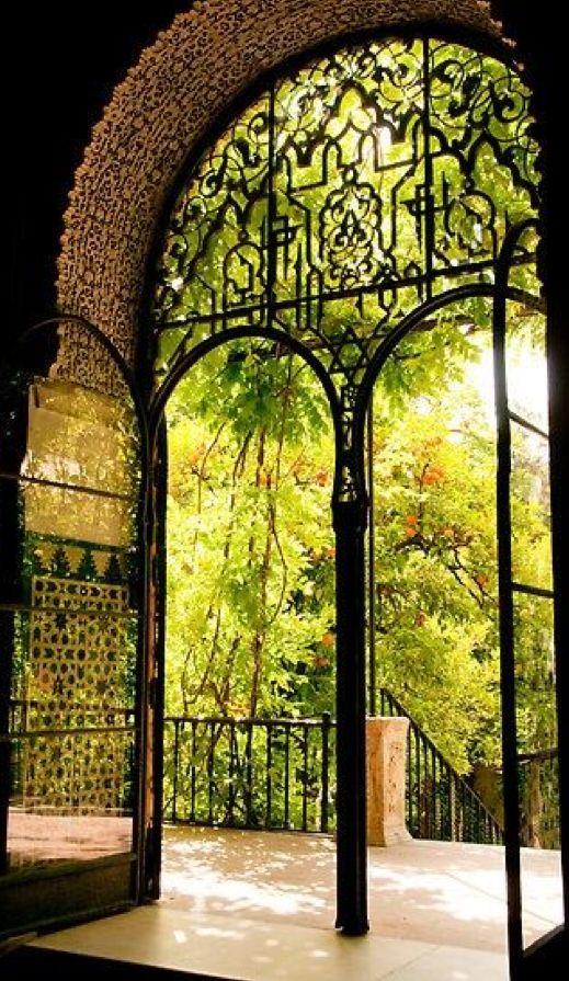 Moorish garden at the Reales Alcazares in Seville, Spain