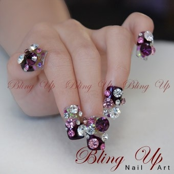 9 best nail art for vegas images on pinterest bling nail art bling up purple pink white 3d vision nail art with pointed and flat back swarovski rhinestones prinsesfo Images