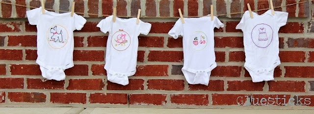 embroidered onesies.  I need to brush up on my embroidery skills and make some of these for baby girl!