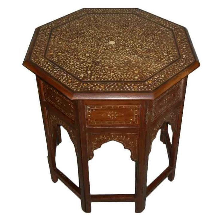19th C Anglo Indian Inlaid Octagonal End/SideTable On Stand