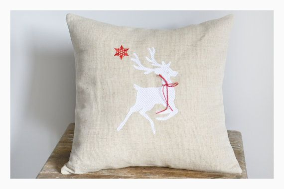 Reindeer  Embroidered Christmas pillow cover Christmas by KoTshop