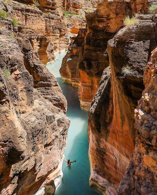 Exploring the Grand Canyon, @johnonelio shares the stunning waters of Supai in Arizona. Who would swim here?