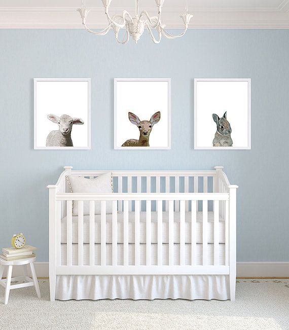 Woodland Nursery Art Baby Animals Nursery Decor Sheep ...