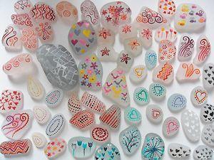 Doodles & patterns - Hand painted sea glass - Original acrylic miniature art | eBay