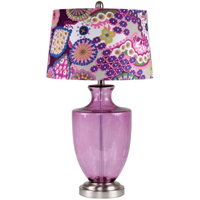 Purple Glass Table Lamp With A Bohemian Style Shade. Product: Table  LampConstruction Material: GlassColor: Multi Accommodates: Bulb   Not  Included ...