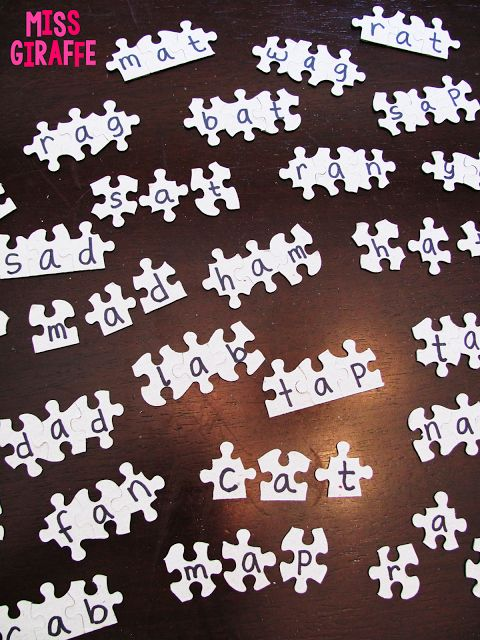 Flip a puzzle upside down and write words on them to make easy reading centers