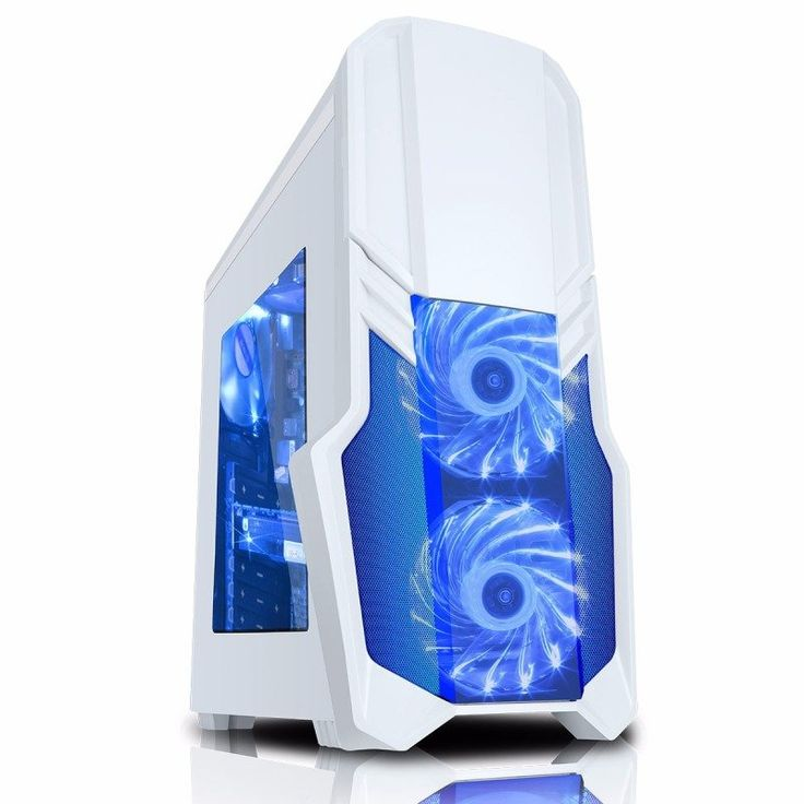 G Force White Case 1 x USB3 2 x 12cm Blue 15 LED Front Fans