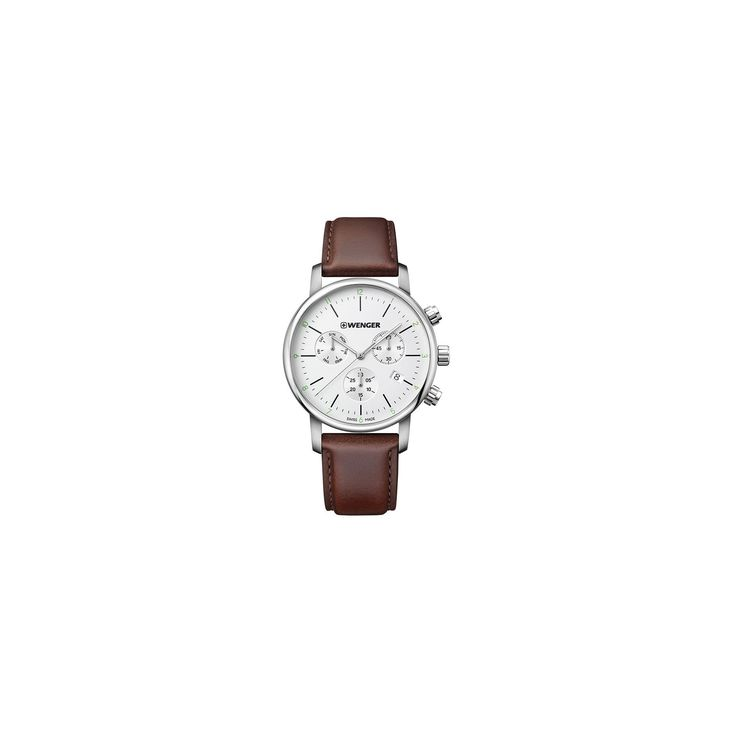 Men's Wenger Urban Classic Chrono - Swiss Made - Silver Dial Leather Strap watch - Brown, Light silver