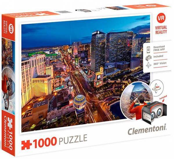 ¡LO MÁS NUEVO EN PUZZLES! Recorre Las Vegas con visión 360 grados después de montar el rompecabezas.    Puzzle CLEMENTONI: Puzzle de 1000 piezas Las Vegas realidad viritual ( Ref: 0000039404 ) en Puzzlemania.net
