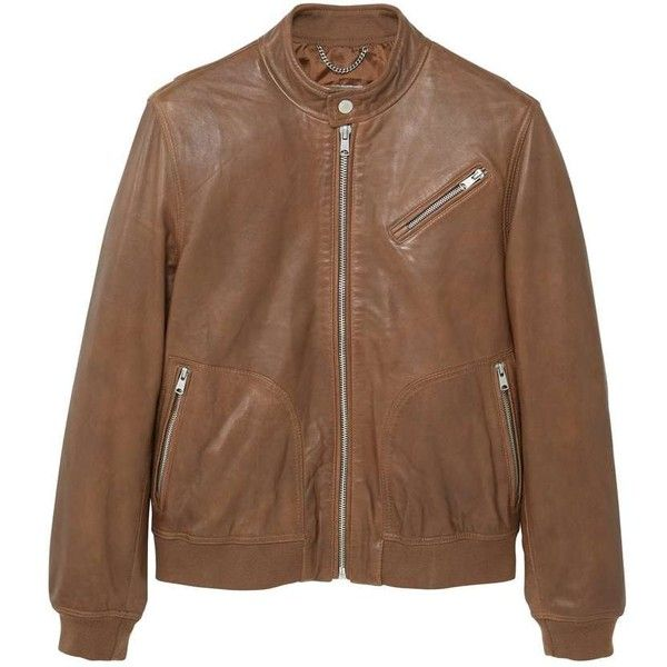 MANGO MAN Leather biker jacket ($100) ❤ liked on Polyvore featuring men's fashion, men's clothing, men's outerwear, men's jackets, medium brown, mens real leather jackets, mens brown jacket, mens zipper jacket, mens long jacket and mens leather motorcycle jackets