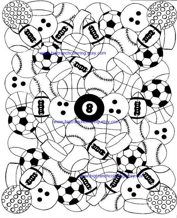 sports balls coloring for men adult coloring by bigtranchcoloring - Sports Coloring Book
