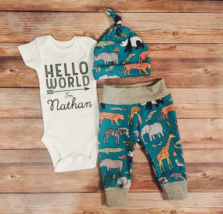 Turquoise Safari Newborn Outfit