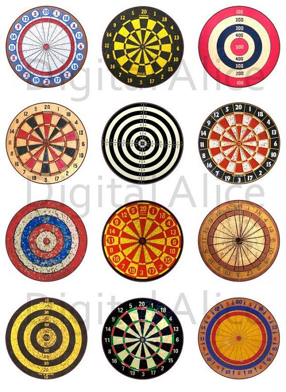 VINTAGE DART BOARDS Craft Circles - Steampunk Dart Art - Instant Download Digital Printable  -Bottlecaps Collage Sheet -  DiY