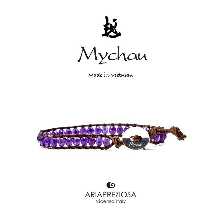 Mychau - Bracciale Vietnam originale realizzato con Ametista naturale su base bracciale col. Testa di Moro