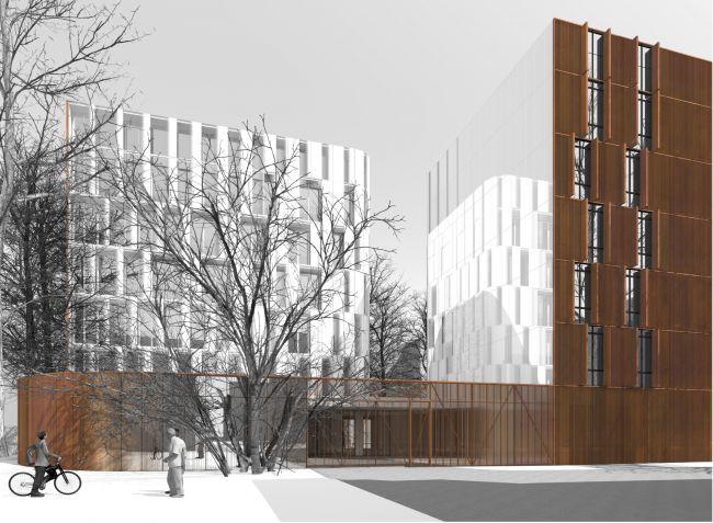Западный фасад. Въездные ворота © Сергей Скуратов ARCHITECTS
