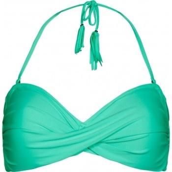 Beachlife Topje Romy. Vrolijke bikini in een zomerse groene kleur. De top Romy is een bandeaumodel, gedraaid aan de voorkant met afneembare gevlochten bandjes en zijbeugels.