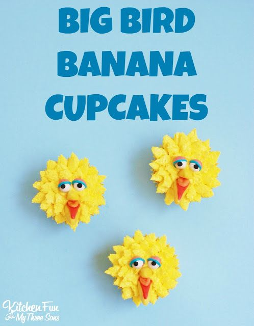 Kitchen Fun With My 3 Sons: Big Bird Banana Cupcakes including a Cupcakery Giveaway!