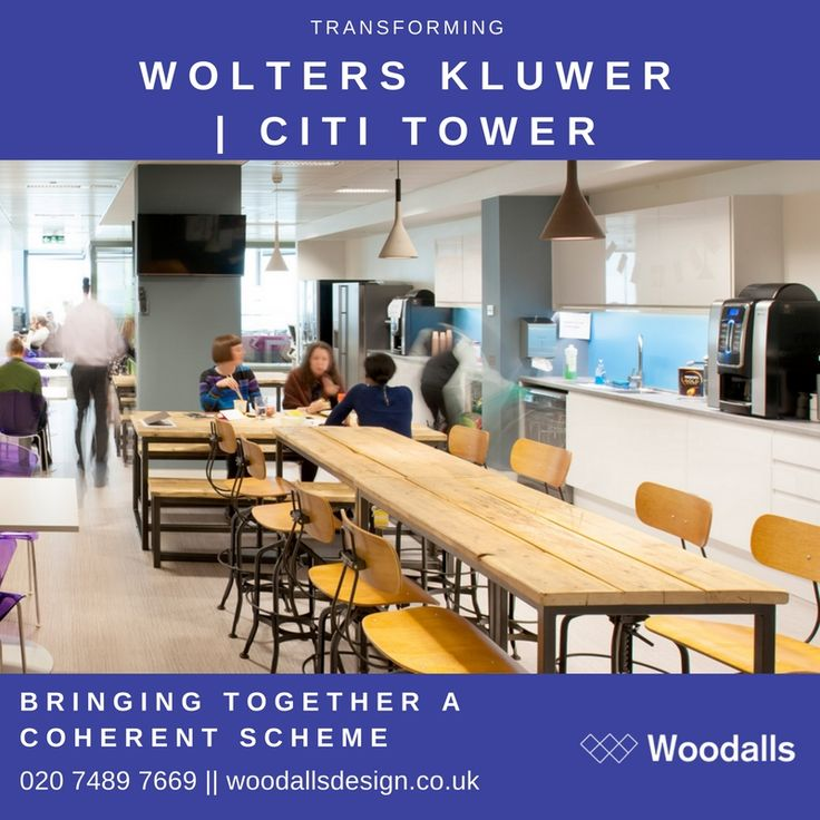 Woodalls used a carefully managed programme of design workshops to intelligently engage with heads of business in London and the global real estate team – bringing together a coherent scheme that tempered latest materials and design thinking with the dependable, trusted Wolters Kluwer brand values. #Design #Office #Officedesign