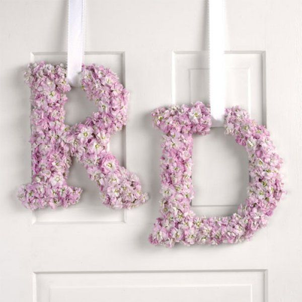 Monogram Wedding Wreaths ~ A cute decoration Hannah and David can keep and use in their home.