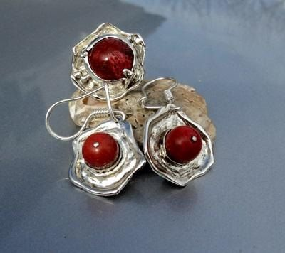 Sterling silver 925 set of ring and earrings with red coral. Handmade jewelry. Weddings, Bridesmaids, Birthday gift. by newstylejewerly on Etsy