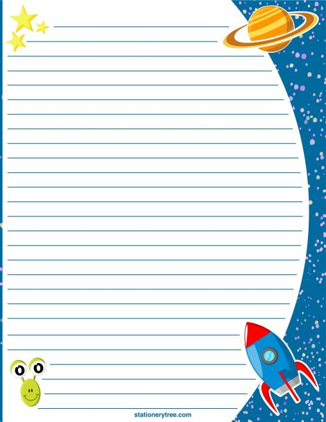 Printable space stationery and writing paper. Free PDF downloads at http://stationerytree.com/download/space-stationery/.