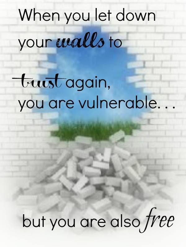 """When you let down your walls to trust again, you are vulnerable… but you are also free. Hard to imagine, right? Trusting again. Letting people see the real you. Opening your heart to love. . . a mother, a new friend, a child, your spouse. Breaking down walls means that you acknowledge that you were once hurt, but you don't want to live wounded anymore. Living with a mended heart cannot begin until we invite God to help us break down those walls."" - From ""The Mended Heart"" by @Suzie Moyer…"