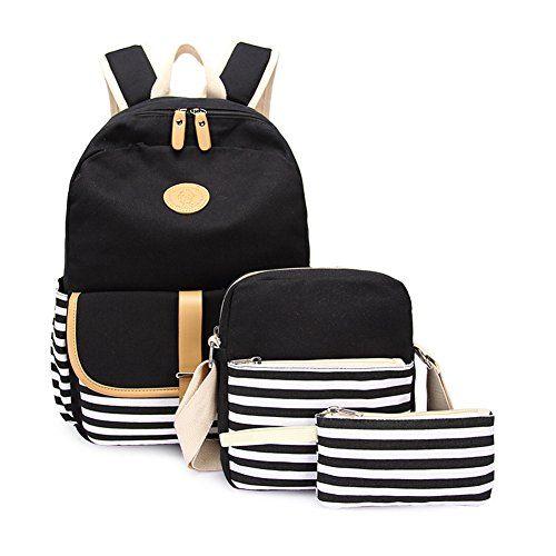 2017 Back-to-School Popular Backpacks Teens & Tweens - Abshoo Causal Travel Canvas Rucksack Backpacks for Girls School Bookbags Set (Black Set)
