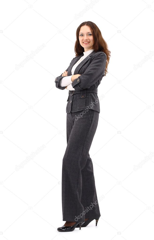 Download Confident Business Woman Standing Full Length In Black