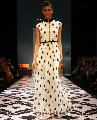 Cream maxi dress with sequined collar