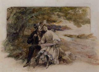 Ferninand Heibuth (1826-1889), Ερωτευμένοι. Ιδιωτική Συλλογή.
