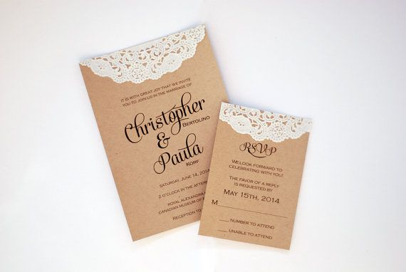 Custom Rustic Modern Wedding Invitations - Calligraphy - Save the Date - Baby & Bridal Shower - Vintage Lace Doily and Burlap - Place Cards