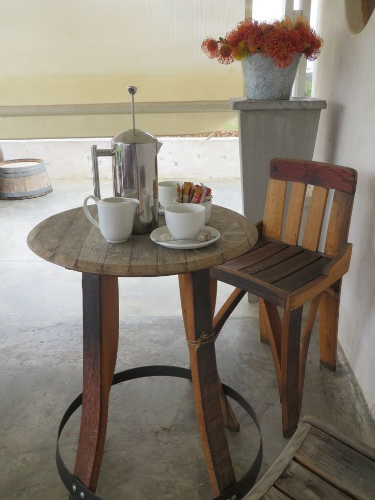 Coffee time at Black Oystercatcher Restaurant. #woodenfurniture #winebarrel #coffee #pincushions