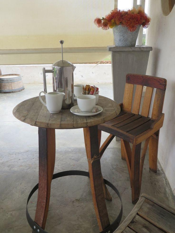 Coffee time at Black Oystercatcher Restaurant. #woodenfurniture #winebarrel #coffee #pincushions