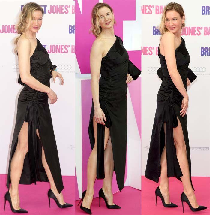 "Renee Zellweger flaunts her legs at the German premiere of ""Bridget Jones' Baby"" in Christian Louboutin ""So Kate'""pumps on September 7, 2016"