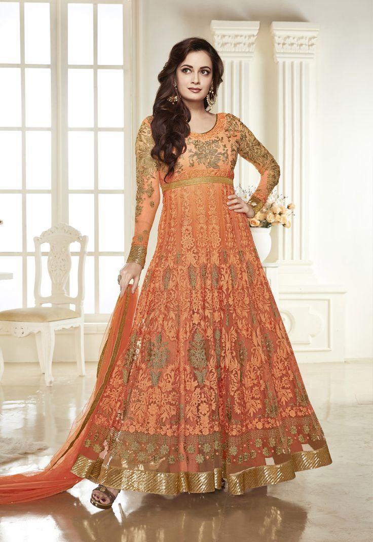 Designer salwar kameez mesmeric peach color net designer suit - Dia Mirza In Semi Stitched Orange Anarkali Suit Net Officewear Long Salwarkameez Colour Peachabaya