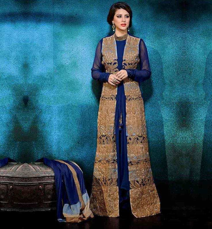 #ANARKALIJACKETSTYLEDRESSES  JACKET STYLE ANARKALI DRESSES ONLINE SHOPPING BLUE AND BEIGE GEORGETTE DRESS WITH SANTOON SALWAR AND CHIFFON DUPATTA