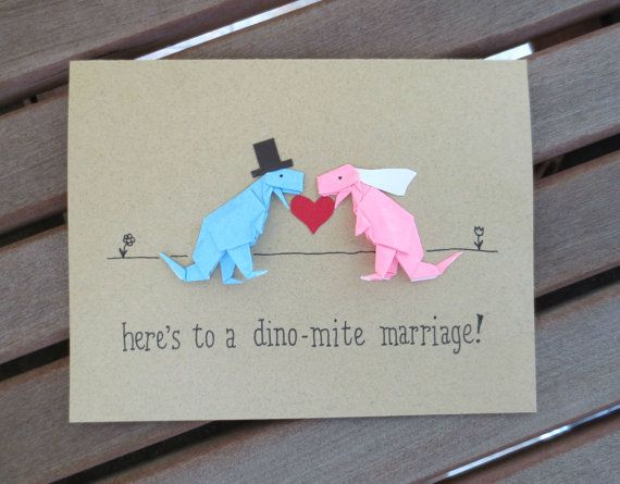 dinosaur wedding card funny wedding card cute by FubiniCrafts, $7.00