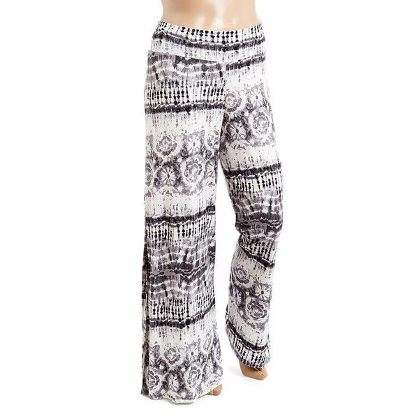 GLAM Black & White Geometric Palazzo Pants ($25) ❤ liked on Polyvore featuring plus size women's fashion, plus size clothing, plus size pants, plus size, stretch pants, stretchy pants, palazzo pants, patterned palazzo pants and wide leg trousers