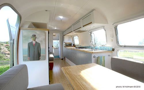 Matthew Hofmann is a practicing architect in Santa Barbara, CA who recently renovated a 1970s Airstream trailer into a small live/work studio.    Read more at Design Milk: http://design-milk.com/vintage-airstream-becomes-a-cozy-place-to-live-and-work/#ixzz1GRzIFe1G